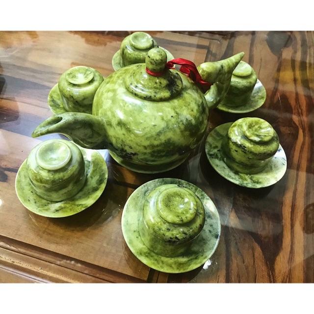 Bộ ấm trà ngọc Serpentine sang trọng quý hiếm tự nhiên 100%