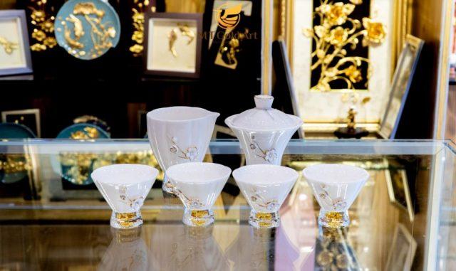 Bộ ấm trà sứ pha lê Swarovski vàng 24K